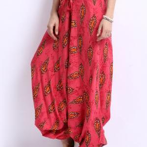 Women Pink Printed Harem Pants