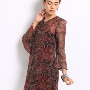 Women Brown Printed Tunic